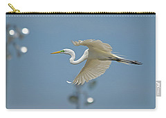 Great Egret In Flight And Flood Lighting Carry-all Pouch