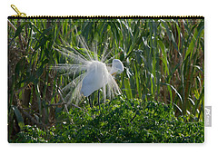 Great Egret In Flight With Windy Plumage Carry-all Pouch