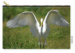 Great Egret In Unusual Portrait Carry-all Pouch