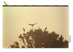 Great Egret Joining Friends Carry-all Pouch by Robert Banach