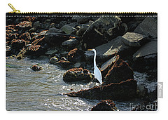 Great Egret On Sunny Seaside Rocks Carry-all Pouch