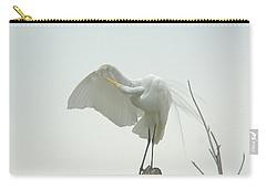 Great Egret Preening On Broken Tree Limb Carry-all Pouch