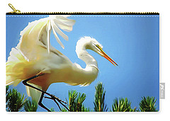 Great Egret Preparing For Treetop Landing 3 - Digitalart Carry-all Pouch