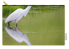 Carry-all Pouch featuring the photograph Great Egret Ready To Pounce by Ricky L Jones