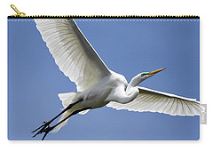 Carry-all Pouch featuring the photograph Great Egret Soaring by Gary Wightman