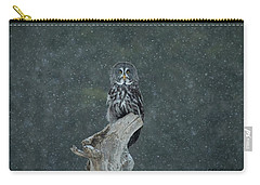 Great Gray Owl In Snowstorm Carry-all Pouch by CR Courson
