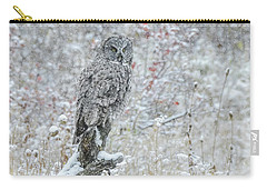 Great Grey Owl In Snow Carry-all Pouch