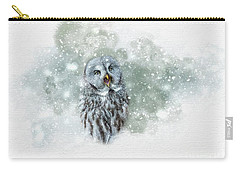 Great Grey Owl In Snowstorm Carry-all Pouch