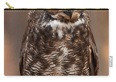 Carry-all Pouch featuring the digital art Great Horned Owl Digital Oil by Chris Flees