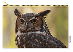 Carry-all Pouch featuring the photograph Great Horned Owl In A Tree 1 by Chris Flees