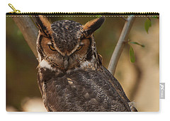 Carry-all Pouch featuring the photograph Great Horned Owl In A Tree 2 by Chris Flees