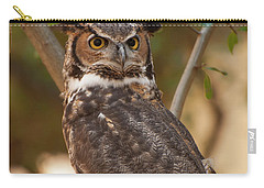 Carry-all Pouch featuring the photograph Great Horned Owl In A Tree 3 by Chris Flees