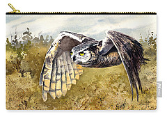 Great Horned Owl In Flight Carry-all Pouch by Sam Sidders