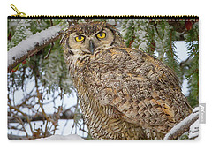 Great Horned Owl In Snow Carry-all Pouch by Jack Bell