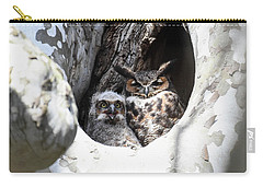 Carry-all Pouch featuring the photograph Great Horned Owl Nest by Gary Wightman