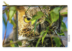 Great Horned Owl Peeking At It's Prey Carry-all Pouch