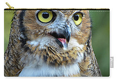 Great Horned Owl Smiling Carry-all Pouch