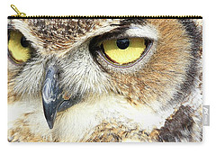 Great Horned Owl Up Close Carry-all Pouch by Steve McKinzie