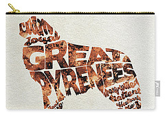 Carry-all Pouch featuring the painting Great Pyrenees Watercolor Painting / Typographic Art by Ayse and Deniz