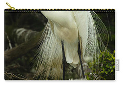 Majestic Great White Egret High Island Texas 3 Carry-all Pouch by Bob Christopher