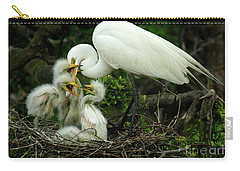 Majestic Great White Egret High Island Texas 9 Carry-all Pouch by Bob Christopher