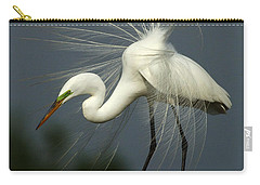 Majestic Great White Egret High Island Texas Carry-all Pouch by Bob Christopher