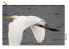 Great White Egret In Flight Carry-all Pouch by Laurel Talabere