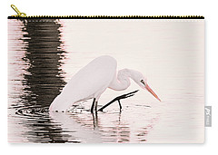 Carry-all Pouch featuring the photograph Great White Egret Pink Sunset by Jennie Marie Schell