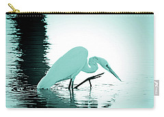 Carry-all Pouch featuring the photograph Great White Egret Teal Sunset by Jennie Marie Schell