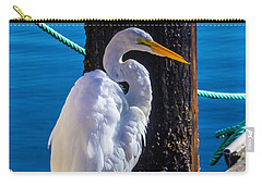 Great White Heron On Boat Dock Carry-all Pouch by Garry Gay