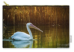 Great White Pelican Swimming On Lake Carry-all Pouch