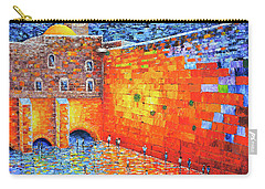 Carry-all Pouch featuring the painting Wailing Wall Greatness In The Evening Jerusalem Palette Knife Painting by Georgeta Blanaru