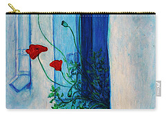 Carry-all Pouch featuring the painting Greek Poppies by Xueling Zou