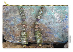 Green Agate And Brass #s55 Carry-all Pouch by Barbara Prestridge