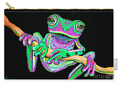 Green And Pink Frog Carry-all Pouch