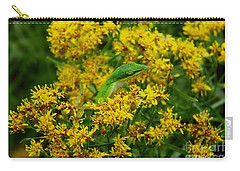 Green Anole Hiding In Golden Rod Carry-all Pouch