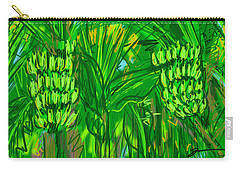 Carry-all Pouch featuring the digital art Green Bananas by Jean Pacheco Ravinski