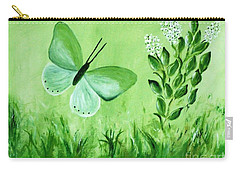 Carry-all Pouch featuring the painting Green Butterfly by Sonya Nancy Capling-Bacle
