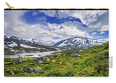 Carry-all Pouch featuring the photograph Green Carpet Under The Cotton Sky by Dmytro Korol