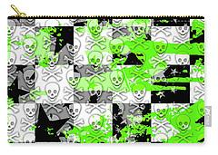 Green Checker Skull Splatter Carry-all Pouch
