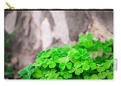 Green Clover And Grey Tree Carry-all Pouch by John Williams