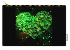 Green Clover Heart Carry-all Pouch