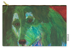Carry-all Pouch featuring the painting Green Collie by Donald J Ryker III