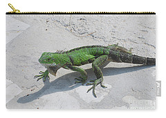 Green Common Iguana Creeping Across A Walkway Carry-all Pouch by DejaVu Designs