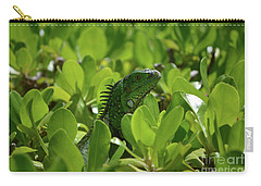 Green Common Iguana In A Shrub Carry-all Pouch by DejaVu Designs