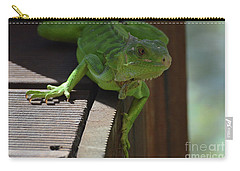 Green Common Iguana On The Edge Of A Bridge Carry-all Pouch by DejaVu Designs