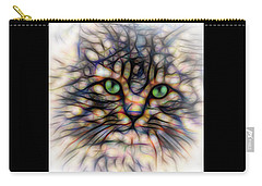 Green Eye Kitty Square Carry-all Pouch by Terry DeLuco