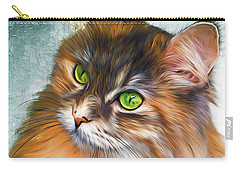 Green-eyed Maine Coon Cat - Remastered Carry-all Pouch