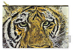 Green Eyed Tiger Carry-all Pouch by Laurie Rohner
