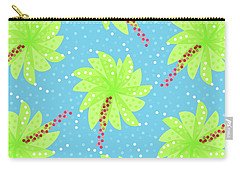Green Flowers In The Wind Carry-all Pouch